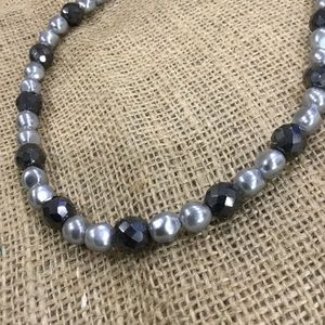 Gray faux pearl necklace